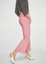 Mango Straight linen-blend trousers ROSA – pink cropped pants