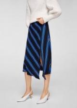 MANGO Striped asymmetric skirt RAYA   stripe skirts