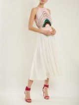 MISSONI Striped pleated knit midi dress ~ pink and white crochet dresses