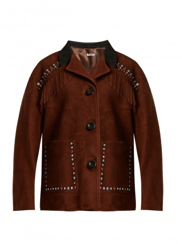 MIU MIU Stud-embellished fringed suede jacket ~ dark-brown Western jackets