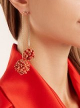 ROSANTICA BY MICHELA PANERO Suono double-drop earrings ~ coral and red beaded statement jewellery