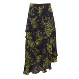 WAREHOUSE SWEETPEA RUFFLE SKIRT / navy blue floral asymmetric skirts