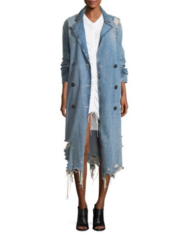 T by Alexander Wang Distressed Double-Breasted Trench Denim Coat ~ destroyed indigo-blue coats