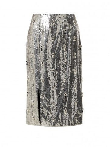 ERDEM Tahira sequin-embellished skirt ~ metallic-silver front split pencil skirts - flipped