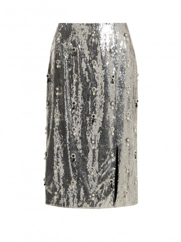 ERDEM Tahira sequin-embellished skirt ~ metallic-silver front split pencil skirts