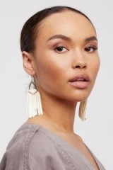 Raven & Riley Tahiti Stone Drop Leather Hoops. STATEMENT FRINGED EARRINGS