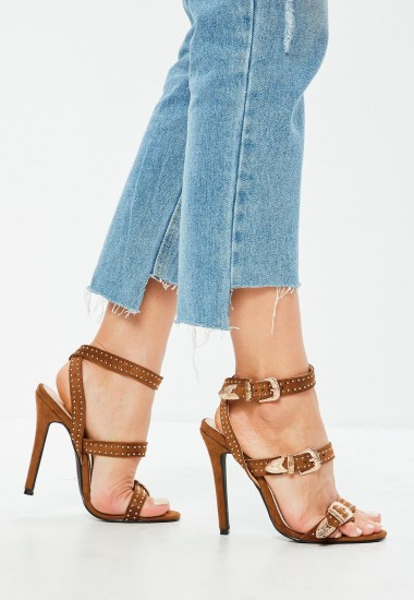 Missguided tan suedette western stud strappy barely there heels