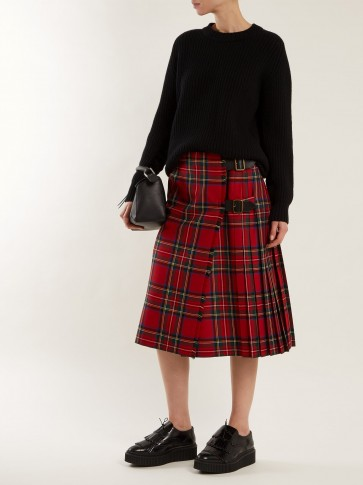 BURBERRY Taybridge tartan wool-twill midi skirt ~ red plaid skirts