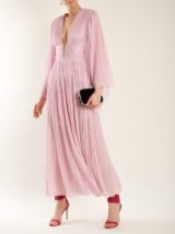 MARIA LUCIA HOHAN Thais deep V-neck pleated silk-tulle gown ~ metallic-pink floaty gowns