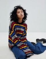 The Ragged Priest Knitted Jumper In Stripe | striped crew neck jumpers