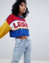 The Ragged Priest Loser Knitted Jumper | multicoloured slogan print jumpers