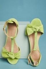 ANTHROPOLOGIE T-Strap Bow Heels | chartreuse-green mid block heel sandals