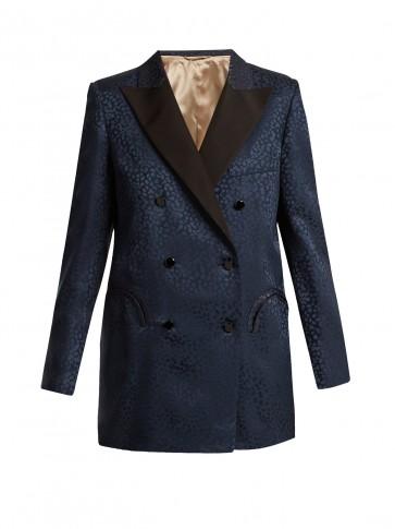 BLAZÉ MILANO Tuiga Burnout silk blazer ~ navy leopard print blazers