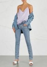 FILLES À PAPA Turner embellished slim-leg jeans ~ crystal-striped denim