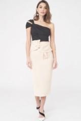 LAVISH ALICE Twisted Bow Midi Skirt – pastel hue pencil skirts