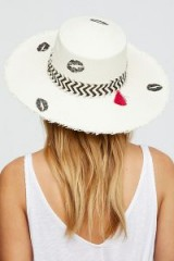 House of Lafayette Valentina Straw Hat. IVORY LIP PRINT SUMMER HATS