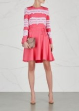 VALENTINO Pink lace-trimmed silk dress ~ fit and flare