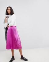Vero Moda Pleated Midi Skirt – metallic pink skirts