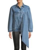 Victoria / Tomas Denim Jacket with Asymmetric Draped Detail ~ blue drape front jackets