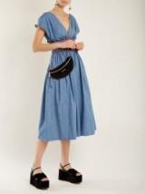 MIU MIU V-neck smocked cotton-chambray dress ~ light denim dresses