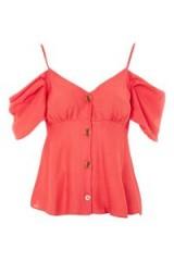 Topshop Volume Sleeve Bardot Camisole Top | coral cold shoulder tops