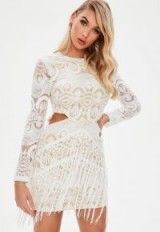 MISSGUIDED white lace cut out tassel dress – fringed party dresses