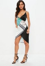 MISSGUIDED white satin strappy printed cami midi dress – asymmetric party dresses