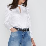 River Island White textured satin puff sleeve top – high neck cut out tops