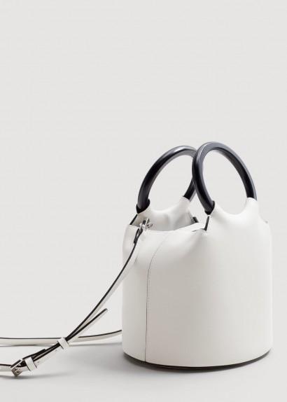 MANGO Wooden handle tote bag ecru / small natural-tone bags