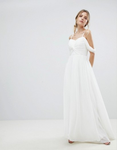 Y.A.S Floaty Maxi Dress With Cold Shoulder – white knot front wedding dresses