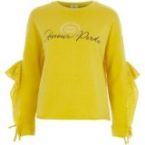 River Island Yellow 'amour' broderie frill sweatshirt | yellow ruffle sleeved slogan tops