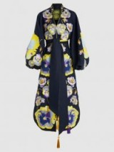 YULIYA MAGDYCH‎ Pansies Embroidered Linen Kaftan ~ floral statement coats ~ luxe balloon sleeved kaftans