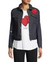 Zadig & Voltaire Kioky Brode Button-Down Embroidered Denim Jacket ~ dark wash blue jackets