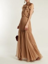 MARIA LUCIA HOHAN Zelma high-neck ruffle-detailed silk gown ~ chic ruffled gowns