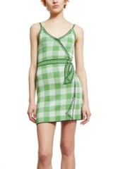 Adam Selman SECRET AGENDA SLIP DRESS in Mint | green check print cami dresses