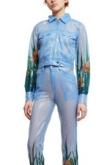 Adam Selman SHEER WORK JACKET in Sky | blue sequin jackets