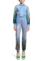Adam Selman SHEER WORK JEANS ~ sky-blue sequin embellished cropped trousers