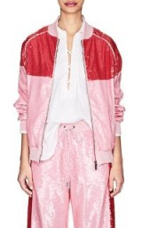 ALBERTA FERRETTI Sequin-Embellished Track Jacket – pink and red colour block jackets – sports luxe clothing