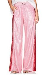 ALBERTA FERRETTI Pink Sequin-Embellished Track Pants – sports luxe fashion