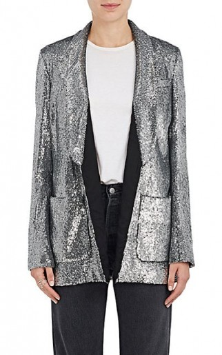 A.L.C. Sequined Open-Front Blazer – as worn by Kourtney Kardashian as a dress on Instagram, 8 March 2018. Celebrity fashion | star jackets