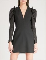 ALEXANDER MCQUEEN Draped wool-blend dress in black – lbd – ruffled shoulders