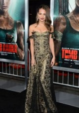 Alicia Vikander wearing an off the shoulder brocade gown at the Tomb Raider Premiere in Hollywood, March 2018 ~ celebrity red carpet dresses