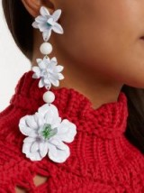 ISABEL MARANT Aloha off-white flower and bead-embellished earrings ~ extreme statement jewellery