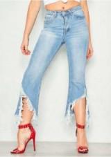 MISSYEMPIRE Andrea Denim Extreme Fray Ripped Hem Jeans | frayed hems