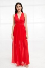 FRENCH CONNECTION ANDROS JERSEY HALTER MAXI DRESS in SHANGHAI RED | semi sheer dresses | plunge front