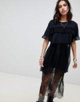 Anna Sui Chasing Hearts Mesh Oversized Top | black semi sheer panel tops