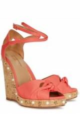 AQUAZZURA Harlow coral grosgrain wedge sandals | embellished wedges