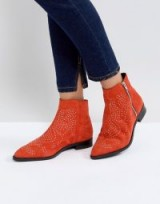 ASOS AUTO PILOT Suede Studded Ankle Boots in Red