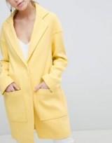 ASOS DESIGN Crepe Pocket Detail Coat in yellow ~ stylish Spring coats