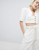 ASOS DESIGN denim top in white with button detail | cropped puff sleeve tops